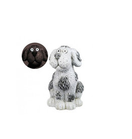 Solar Slate Stone Dog Garden Statue with LED Lights