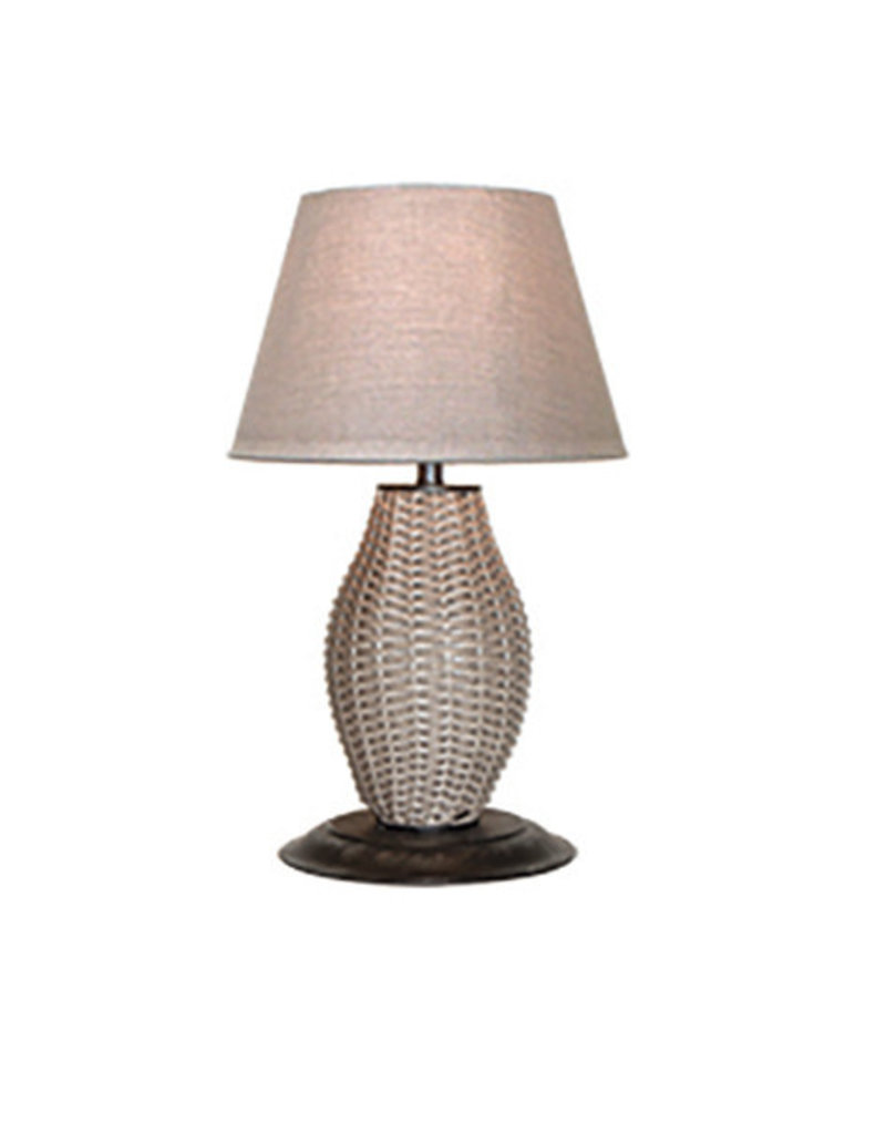Inspired Visions Inspired Visions Townsend Table Lamp with Smoke Wicker and Cast Ash Shade