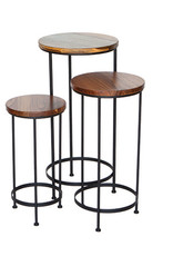 Inspired Visions Inspired Visions Set of 3 Nesting Tables with Acacia Wood Tops