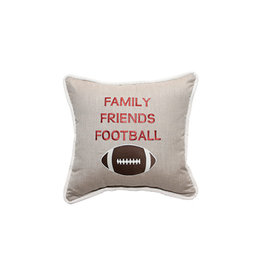 Inspired Visions Inspired Visions 18 x 18 Family Friends Football Embroidery - Cast Ash Sunbrella Throw Pillow