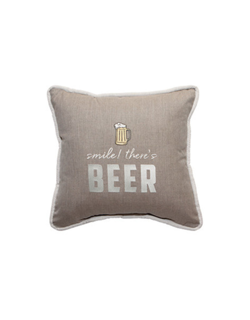 Inspired Visions Inspired Visions 18 x 18 Smile, There's Beer! Embroidery - Cast Ash Sunbrella Throw Pillow