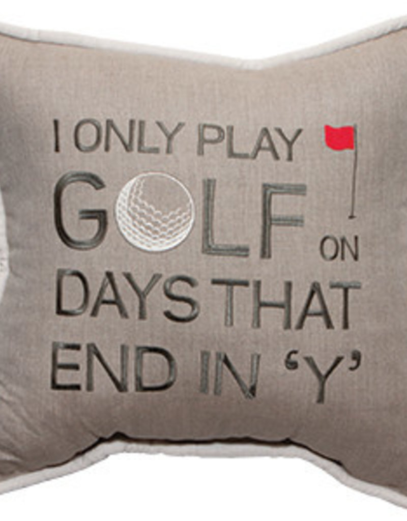Inspired Visions Inspired Visions 18 x 18 Golf on Days that End in Y Embroidery - Cast Ash Sunbrella Throw Pillow