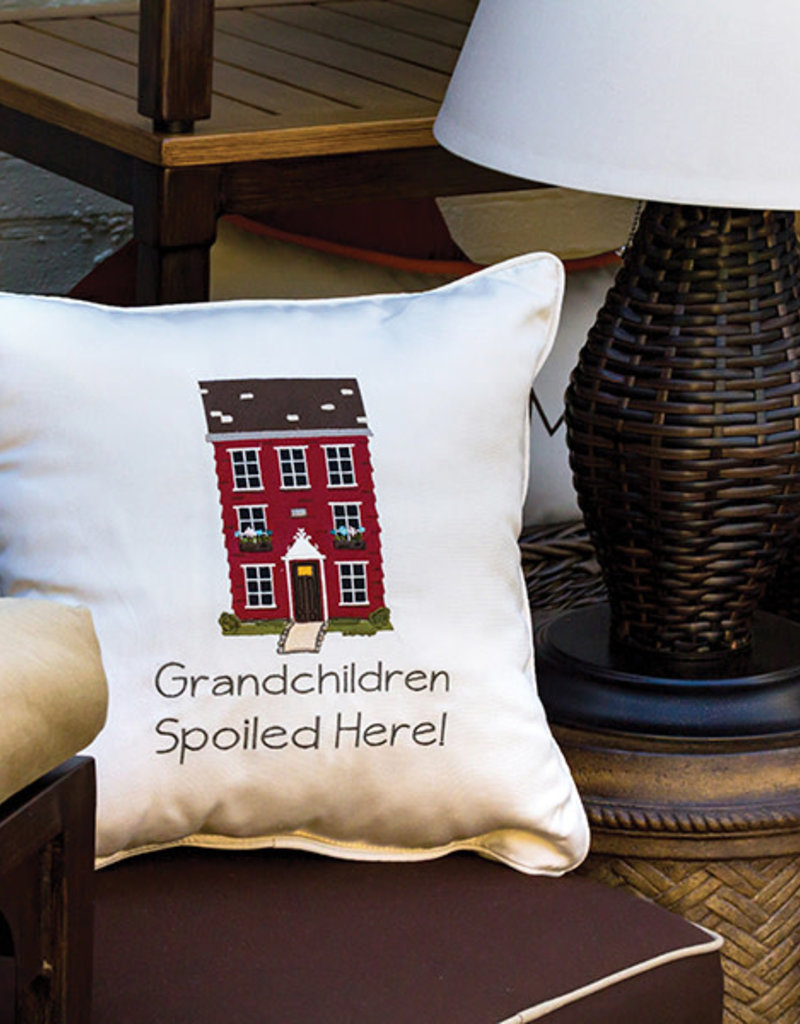 Inspired Visions Inspired Visions 18 x 18 Grandchildren Are Spoiled Here Embroidery - Canvas Canvas Sunbrella Throw Pillow