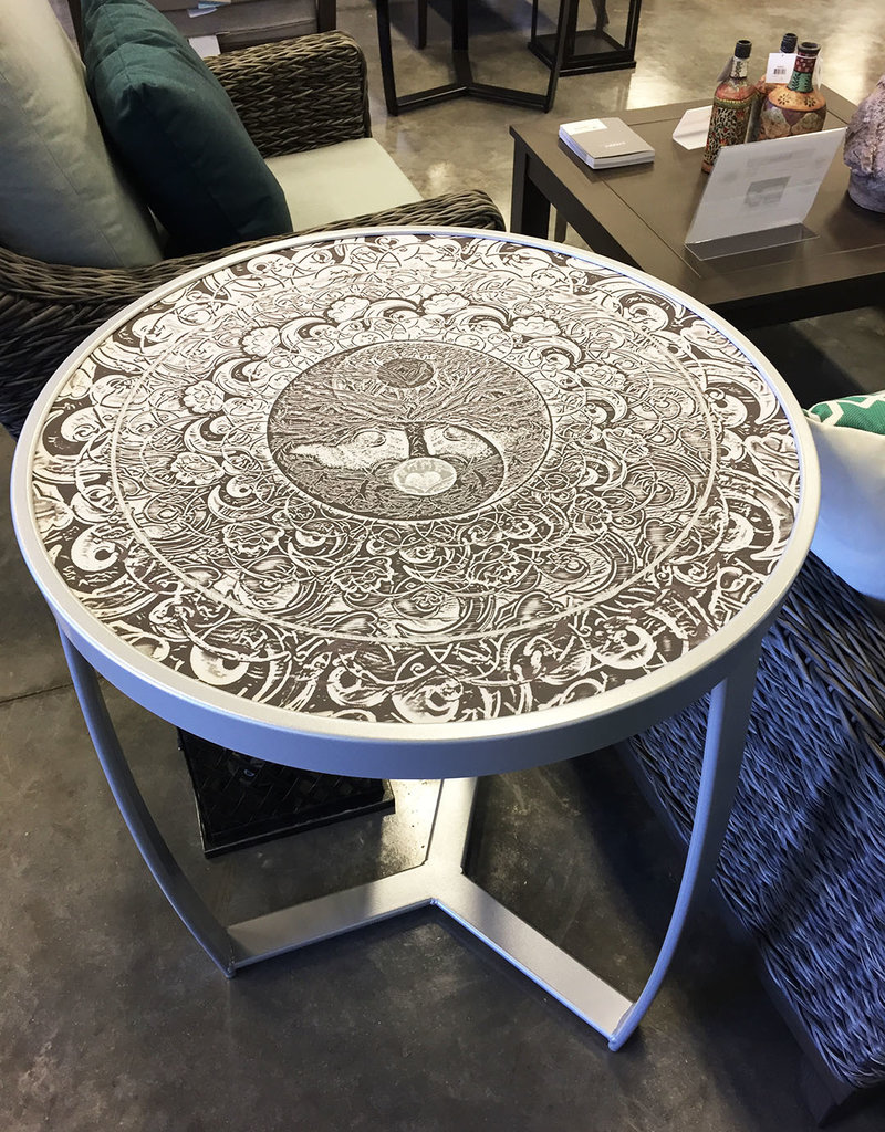 Outdoor by Design 24'' Rd. Beverage Table in Silver Peel with Silver Mandala Top