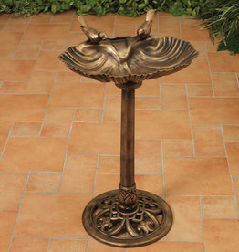 32'' H Resin Birdbath with Bird - Antique Bronze Finish