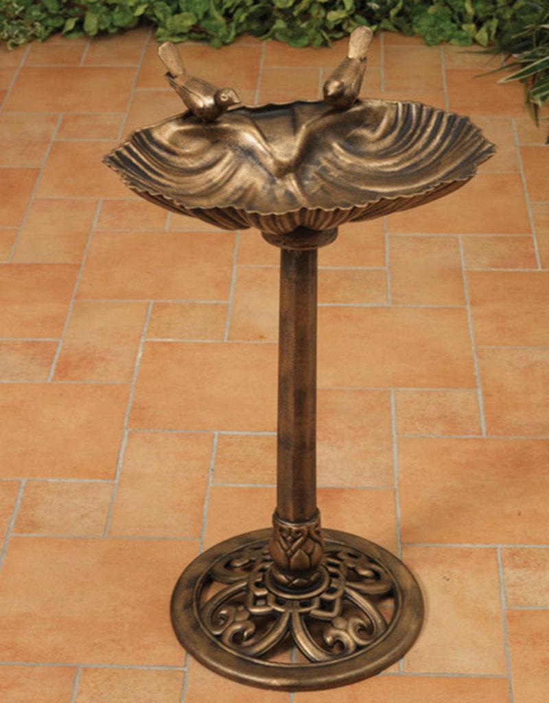 32'' H Resin Birdbath with Bird - Antique Bronze Finish