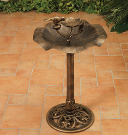31.5'' H Resin Birdbath with Shell Shape Basin - Antique Bronze
