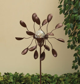 47'' H Solar Lighted Metal Dual Spinner Yard Stake