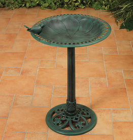 30'' H Resin Birdbath with Bird - Verdigris Finish
