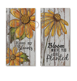 23.5'' H Wood Wall Decor with Metal Flower Accent