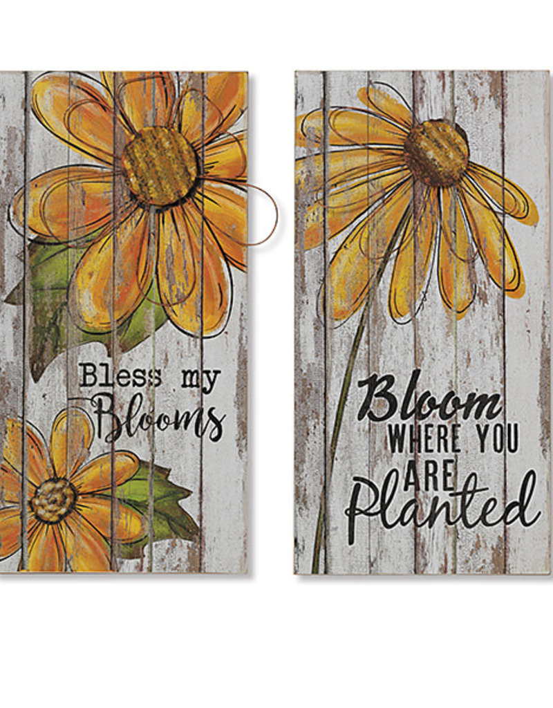 23 5 H Wood Wall Decor With Metal Flower Accent