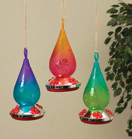 10.2''Hand Blown Glass Hummingbird Feeder