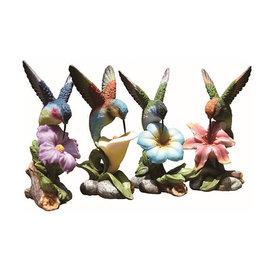Resin Hummingbird on Flower Figurine