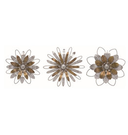 Metal Silver and Gold Flower Wall Art