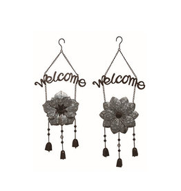 Galvanized Metal Flower Welcome Wind Chime