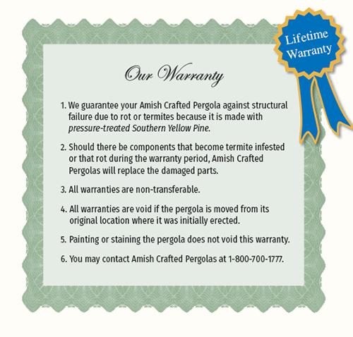 Pergola Limited Lifetime Warranty