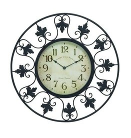 "Metal Outdoor Wall Clock with Fleur de Lis Accents 23"" Dia."