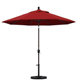 California Umbrella California Umbrella 9' Pacific Trail Series Patio Umbrella With Bronze Aluminum Pole Aluminum Ribs Push Button Tilt Crank Lift With Pacifica Red Fabric