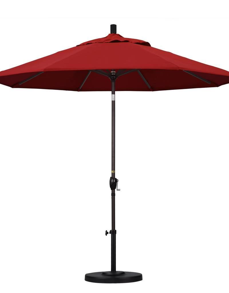 California Umbrella California Umbrella 9' Pacific Trail Series Patio Umbrella With Bronze Aluminum Pole Aluminum Ribs Push Button Tilt Crank Lift With Pacifica Red Fabric