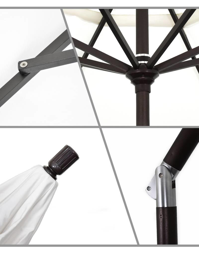 California Umbrella California Umbrella 9' Sun Master Series Patio Umbrella With Matted Black Aluminum Pole Fiberglass Ribs Collar Tilt Crank Lift With Sunbrella Spectrum Dove Fabric