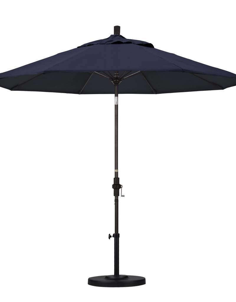 California Umbrella California Umbrella 9' Sun Master Series Patio Umbrella With Bronze Aluminum Pole Fiberglass Ribs Collar Tilt Crank Lift With Sunbrella Navy Fabric
