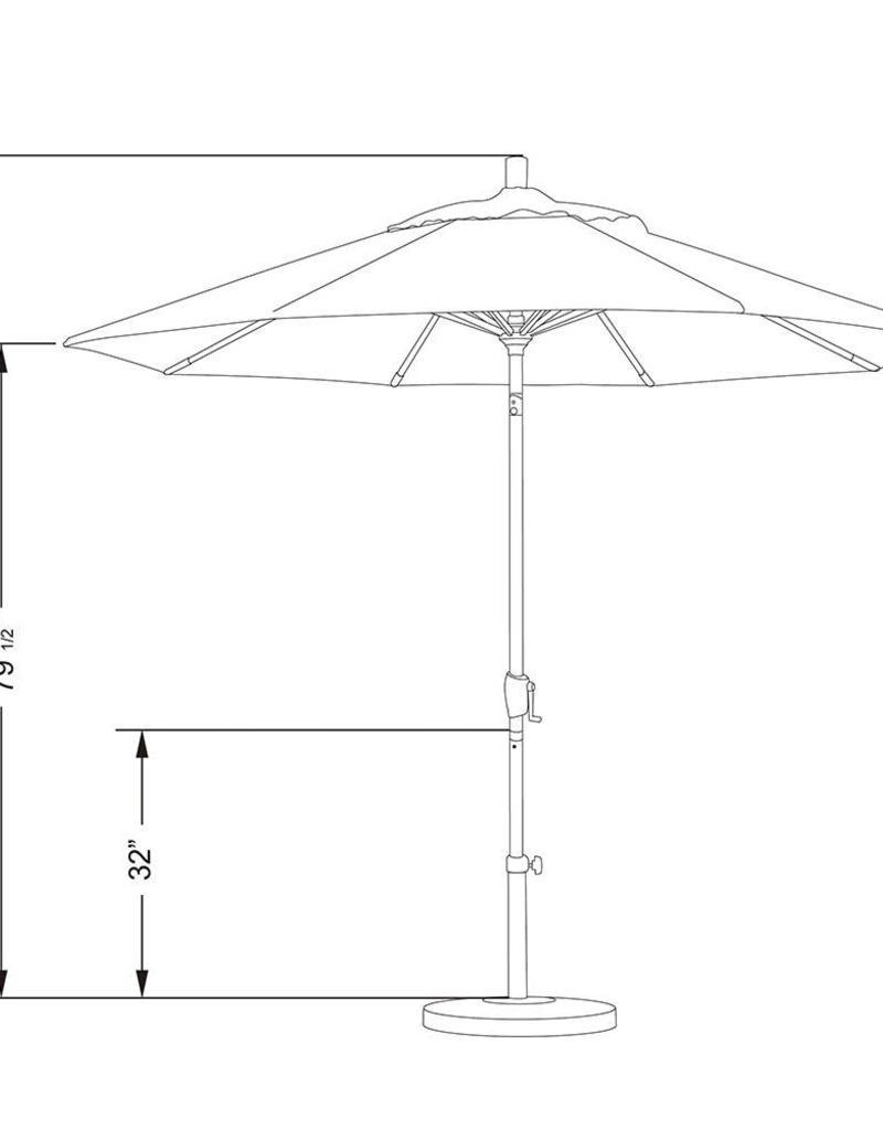 California Umbrella California Umbrella 9' Pacific Trail Series Patio Umbrella With Bronze Aluminum Pole Aluminum Ribs Push Button Tilt Crank Lift With Pacifica Pacific Blue Fabric