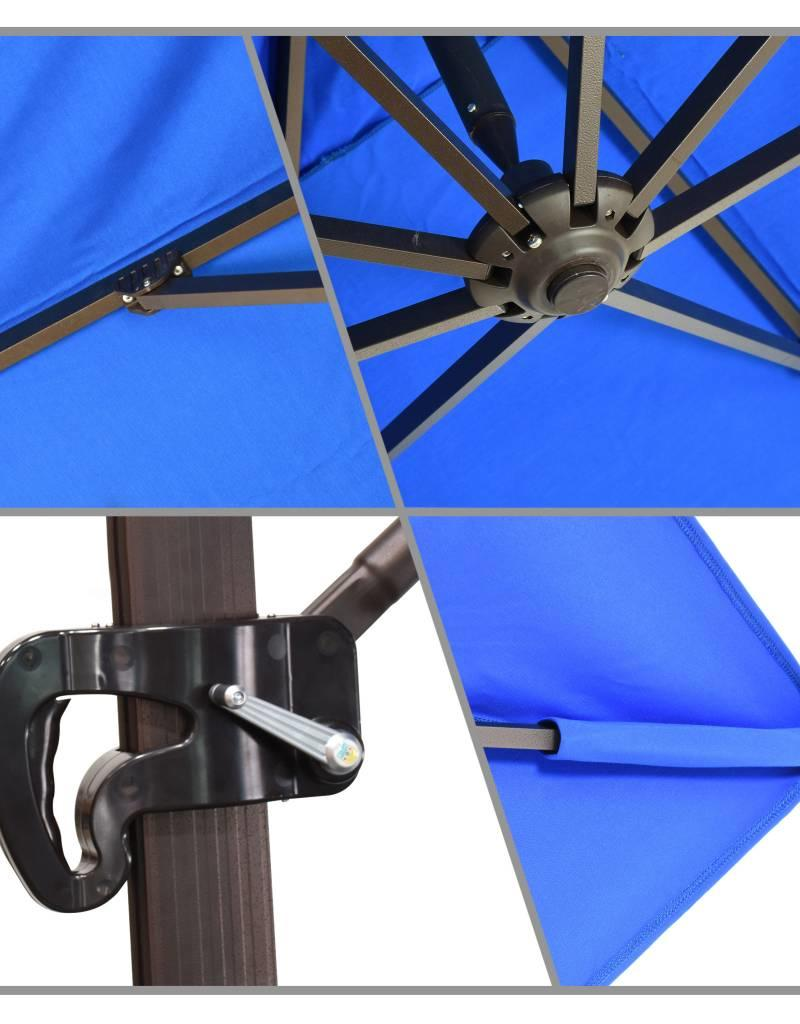 California Umbrella California Umbrella 11' Cali Series Cantilever With Bronze Aluminum Pole Aluminum Ribs Side Tilt Crank Lift With Sunbrella Navy Fabric