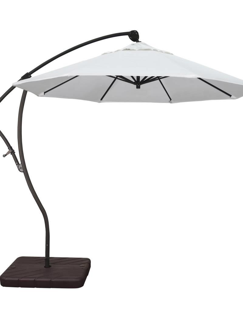 California Umbrella California Umbrella 9' Bayside Series Cantilever With Bronze Aluminum Pole Aluminum Ribs 360 Rotation Tilt Crank Lift With Pacifica Natural Fabric