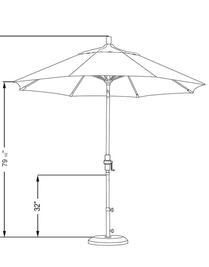 California Umbrella California Umbrella 9' Sun Master Series Patio Umbrella With Bronze Aluminum Pole Fiberglass Ribs Collar Tilt Crank Lift With Sunbrella Dolce Seaside Fabric