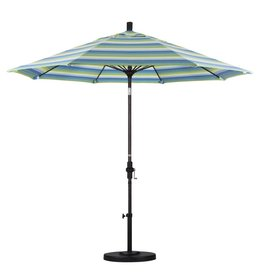 California Umbrella California Umbrella 9' Sun Master Series Patio Umbrella With Bronze Aluminum Pole Fiberglass Ribs Collar Tilt Crank Lift With Sunbrella Dolce Seaside Fabric