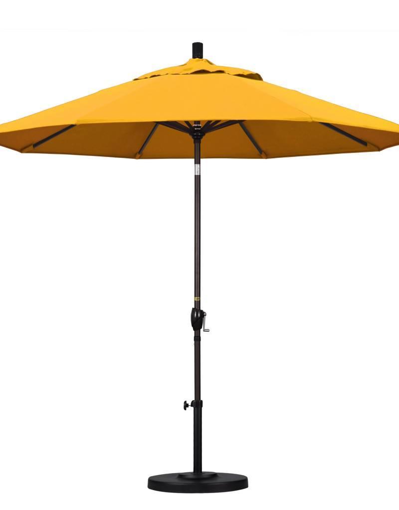 California Umbrella California Umbrella 9' Pacific Trail Series Patio Umbrella With Bronze Aluminum Pole Aluminum Ribs Push Button Tilt Crank Lift With Pacifica Yellow Fabric