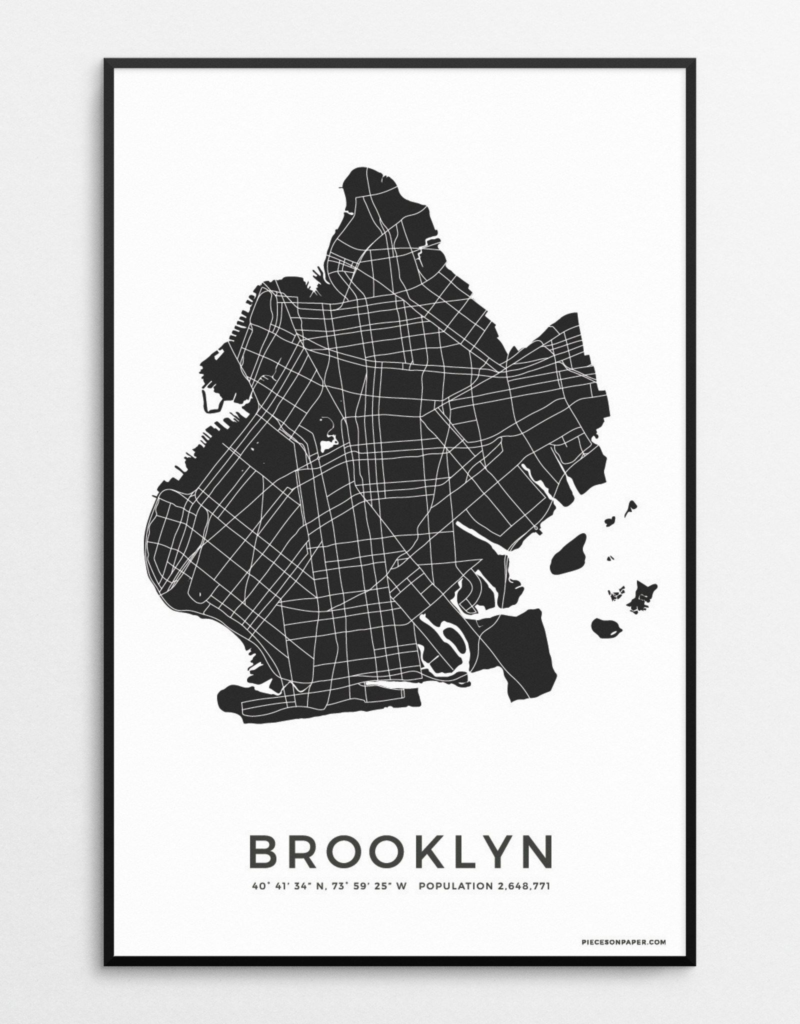 Pieces on Paper Brooklyn Print Black and White