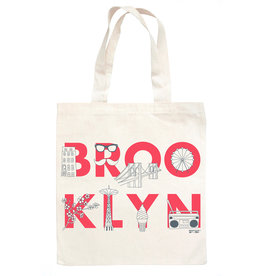 BROOKLYN font Natural Tote