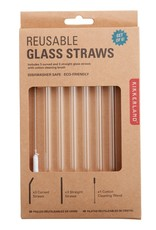 Clear Reusable Glass Straws - set 6
