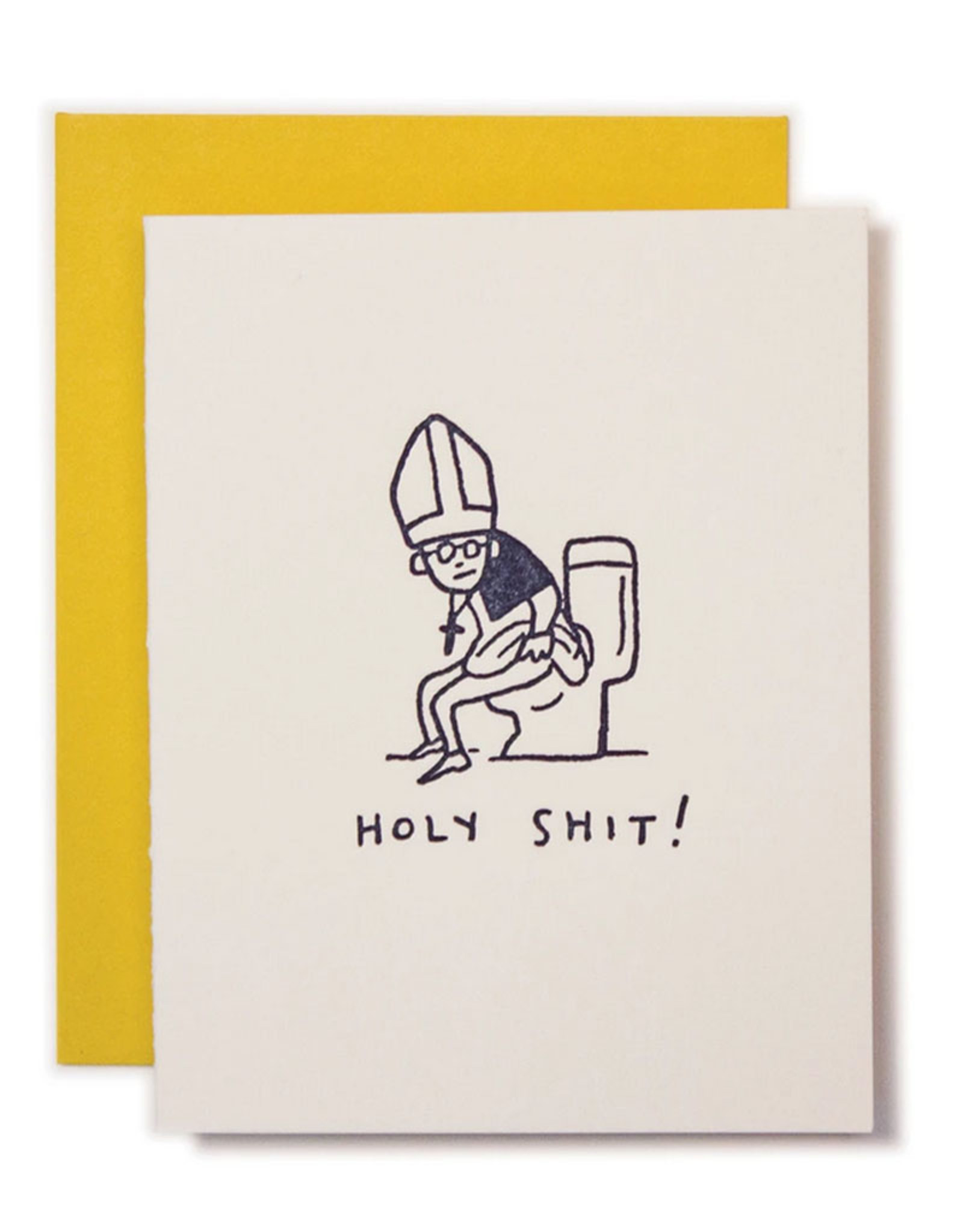 Ladyfingers Letterpress Card - Blank: Holy Shit