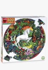 Puzzle 500 piece round: unicorn garden