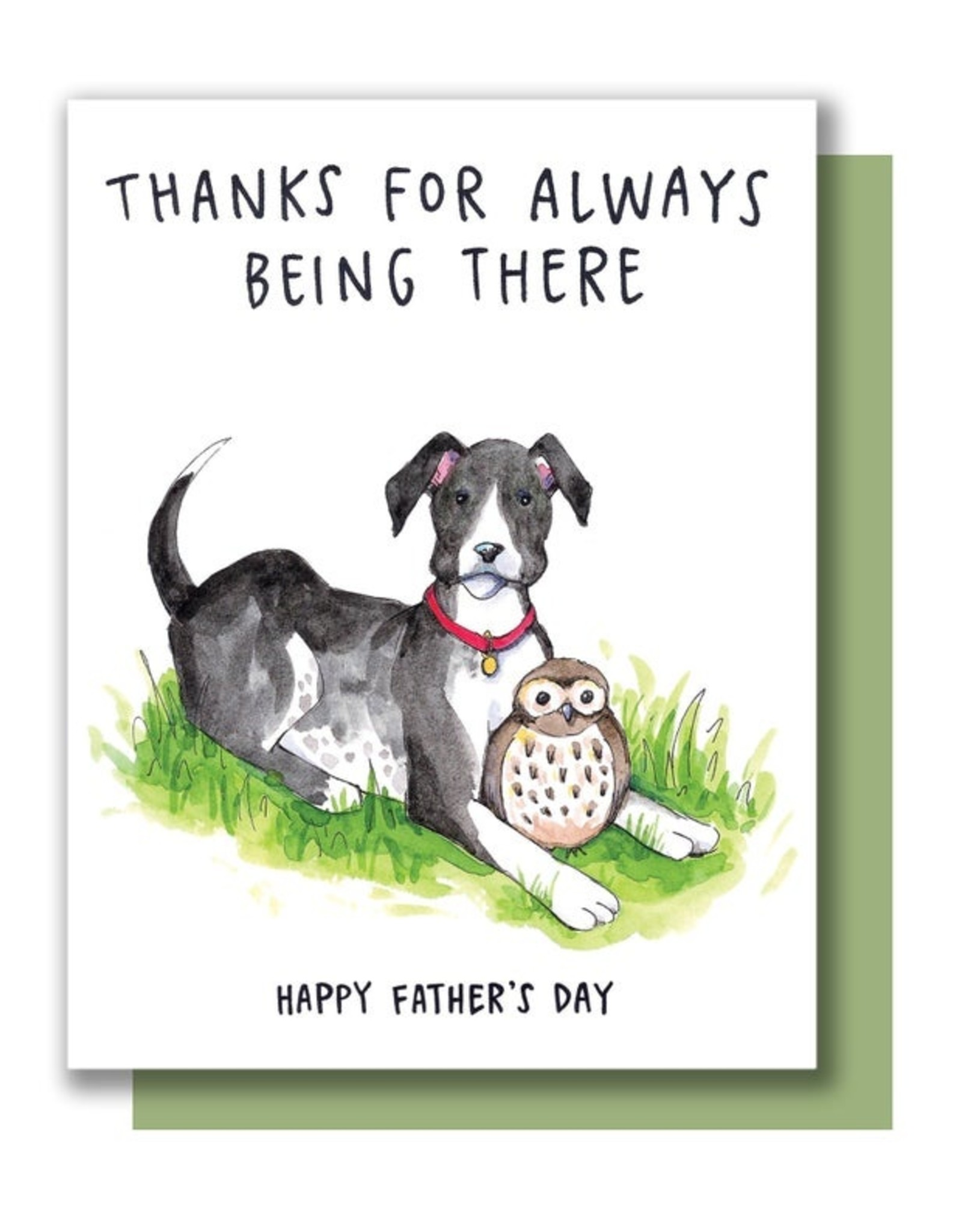 Card - Dad: Always being there dog and owl