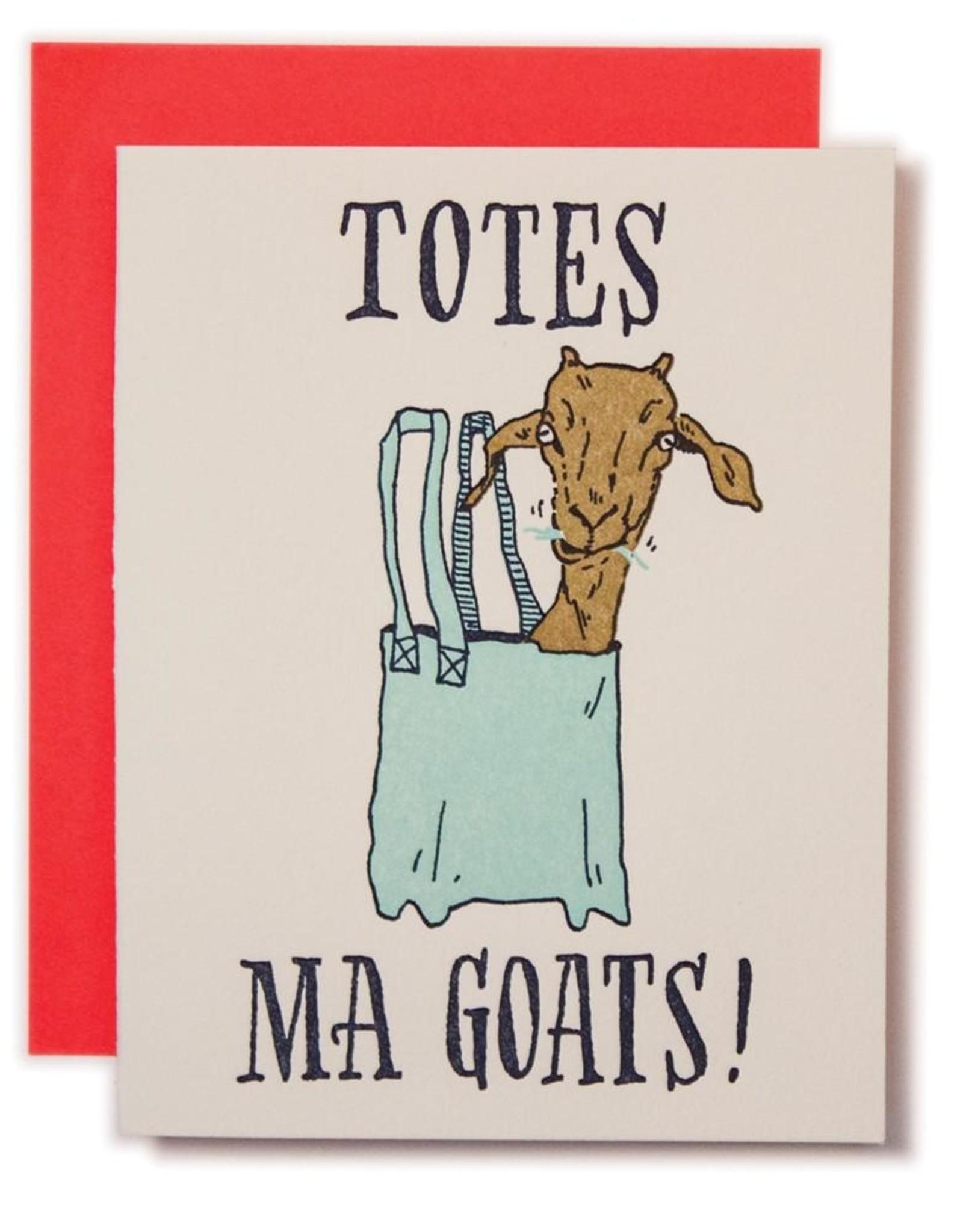 Ladyfingers Letterpress Card - Blank: Totes Ma Goats!