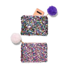 Sequin Bag with Pom Pom