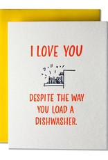 Ladyfingers Letterpress Card - Love: Load the dishwasher