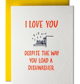 Ladyfingers Letterpress Card - Love: Load the dishwasher