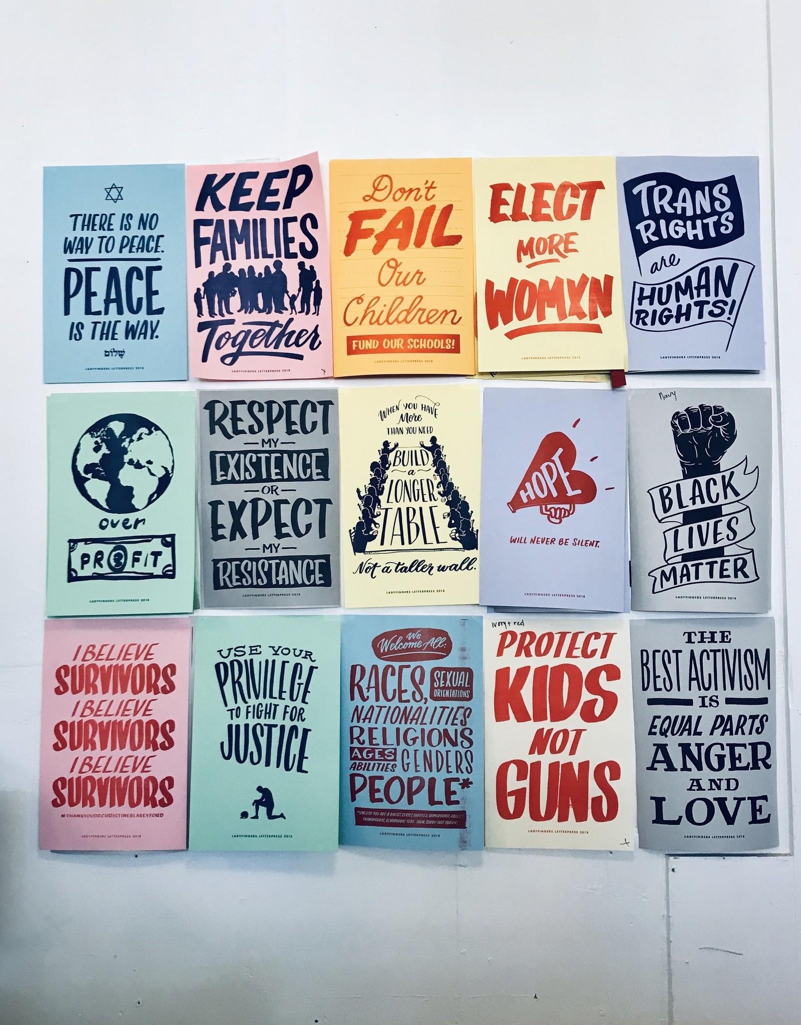 Ladyfingers Letterpress Resist Protest Prints: Set of 15