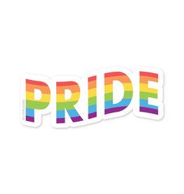 Sticker:  rainbow waving pride