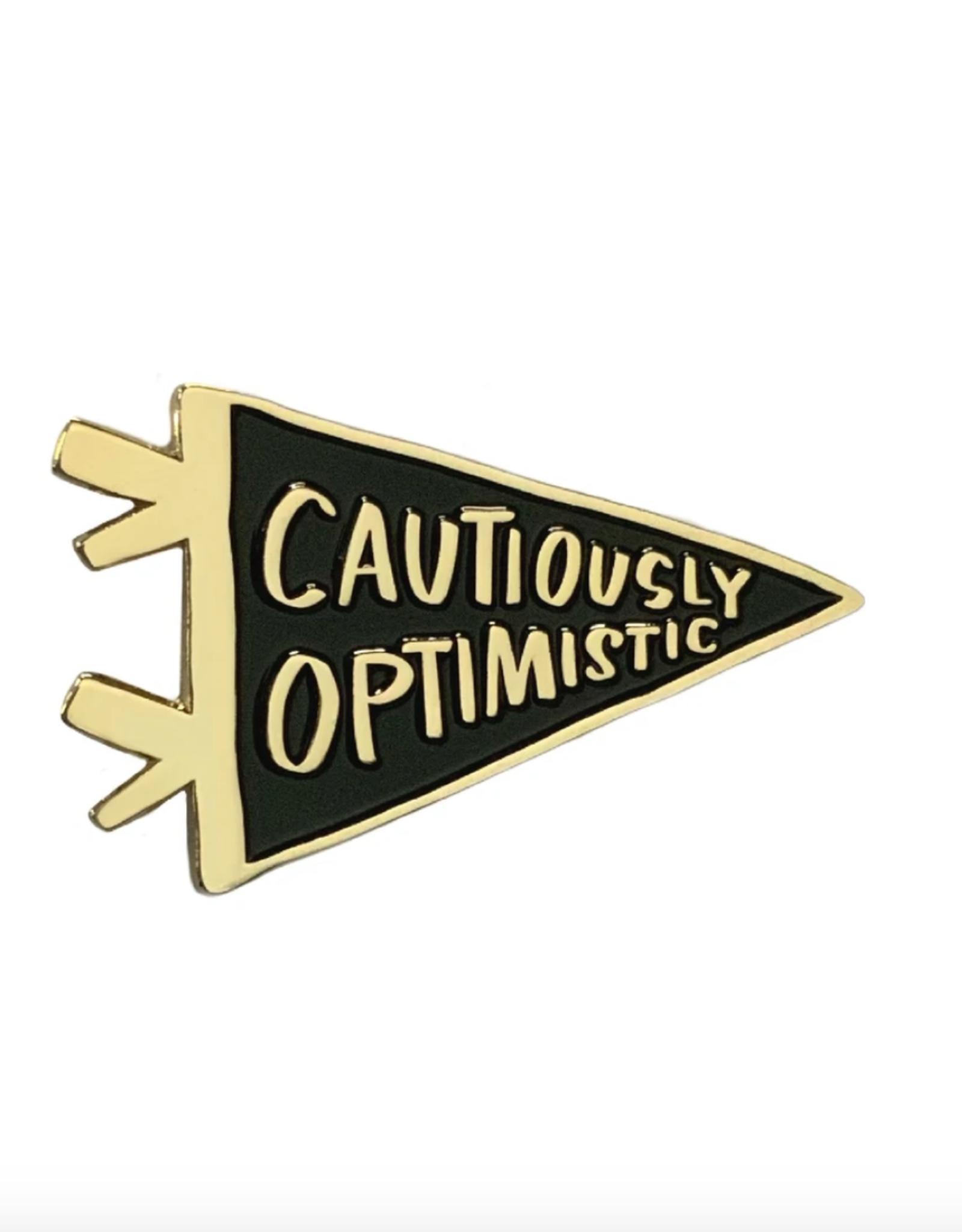 Enamel Pin: Cautiously Optimistic