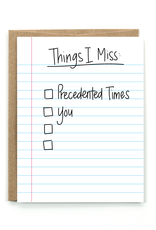 Card - Blank: Things I miss checkboxes