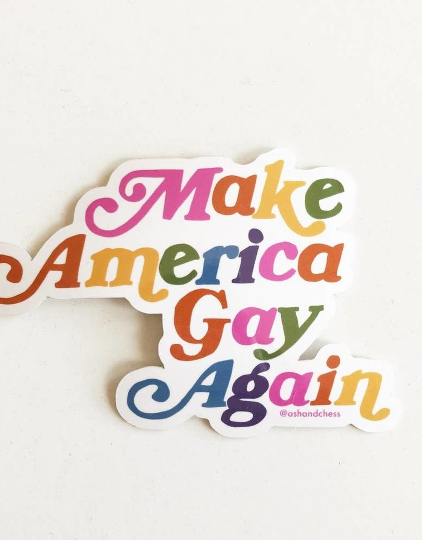 Ash & Chess Sticker - Make America Gay Again