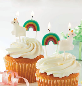 Tag Party Candle: Unicorn and rainbow set