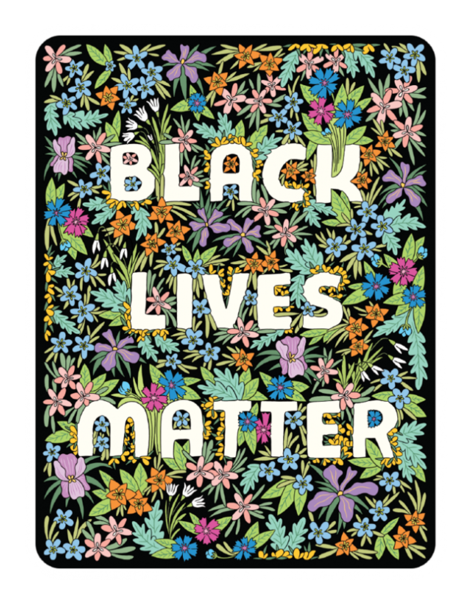 Sticker: Black Lives Matter Black flower