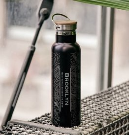 Brooklyn Water Bottle: Black with bamboo top