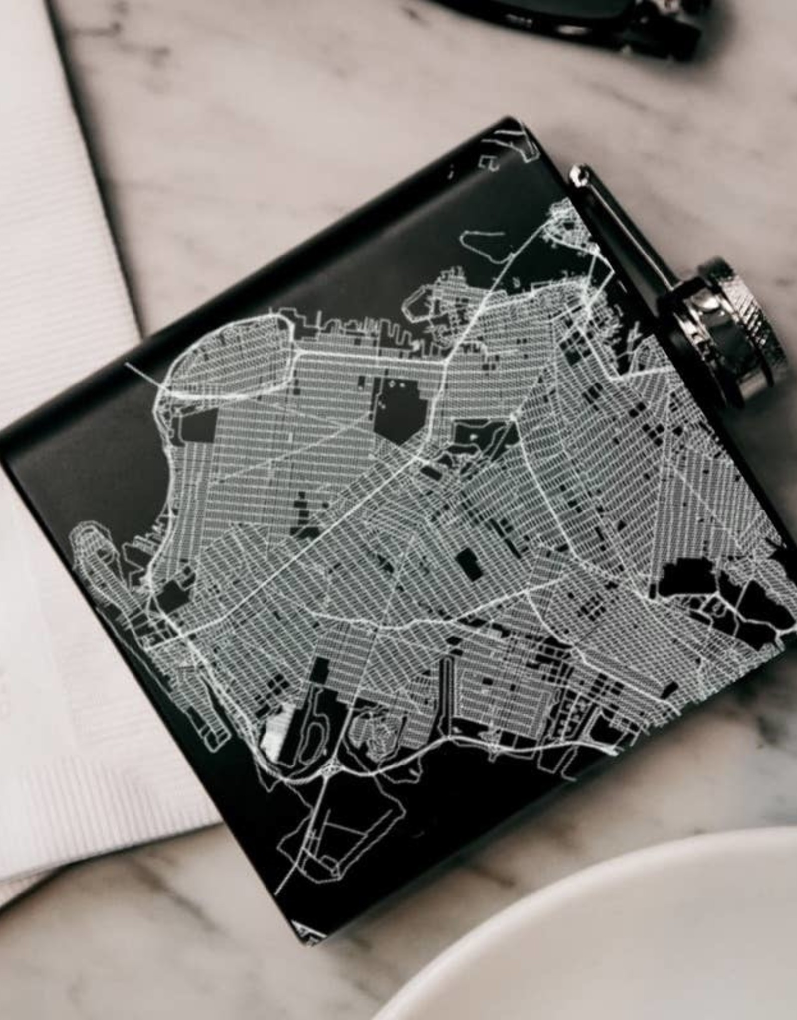 JACE.design Brooklyn Map Hip Flask in Matte Black